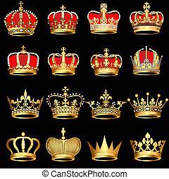 금, 검은 배경, 왕관, 세트