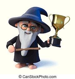 금, 은 있는다, 마법사, 트로피, 원, 만화, 성공, 마술사, 혼자서 젓는 길쭉한 보트, 3차원