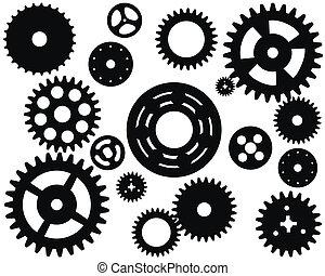 기계, 바퀴, cogwheel, 벡터, 장치