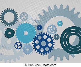 기계, 벡터, 장치, pattern., 바퀴, cogwheel, illustration.
