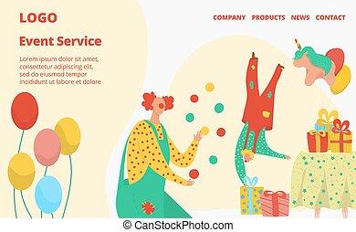 기구, 만화, 특성, 관리, 서비스, 사건, 어릿광대, 행복하다, 공용영역, 삽화, 웹사이트, 회사, 벡터, 생일, 디자인