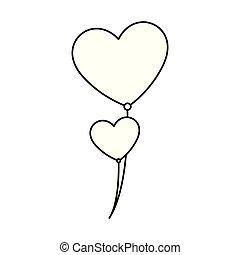기구, 모양, 헬륨, 심장