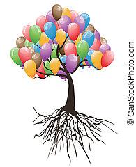 기구, 휴일, 나무, 행복하다