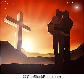 기독교도, 그룹, 십자가, 가족