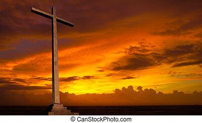 기독교도, 배경., sky., 십자가, 종교, 일몰