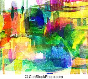기름, 떼어내다, 희미해지는, spot., freehand, painting., 그림