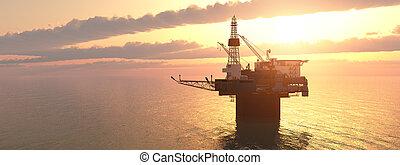 기름, 일몰, 플랫폼