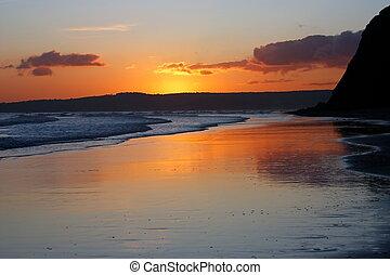 기절시키는, 데번, sunset.