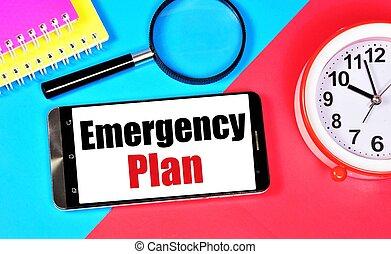 긴급 사태, 메시지, smartphone, screen., plan., 원본