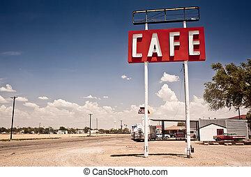 길, 표시, 역사적이다, 66, texas., 계속 앞으로, 커피점