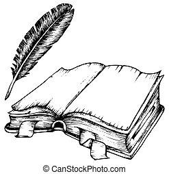 깃털, 책, 열는, 그림