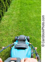 깎인다, 잔디 풀, 녹색, 잔디 깎는 사람