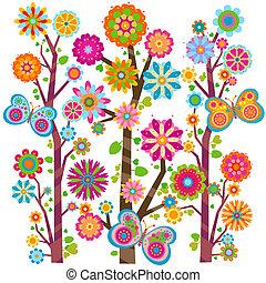 꽃의, 나비, 나무
