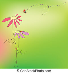 꽃의, 봄, 여름, 카드, 무당벌레