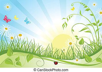 꽃의, 봄, 카드