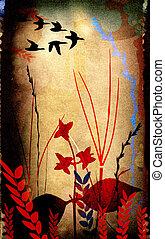 꽃의, 실루엣, 구성, bird`
