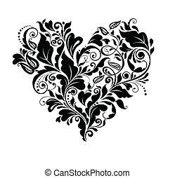 꽃의, 심장, 검정