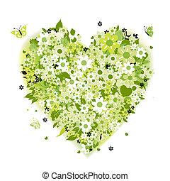 꽃의, 심혼 모양, 녹색, 여름