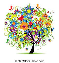 꽃의, 아름다운, 나무