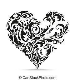 꽃의, heart., 추상적인 개념, 사랑
