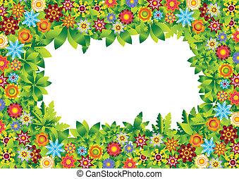꽃, 구조, 벡터, 정원
