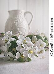 꽃, 꽃, 애플, 배경, 주전자