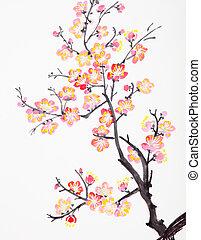 꽃, 꽃, 자두, 그림, 중국어