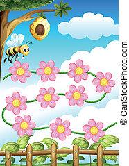 꽃, 꿀벌