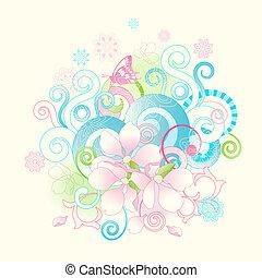 꽃, 두루마리, 봄, 떼어내다