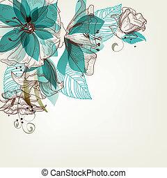 꽃, 벡터, retro, 삽화