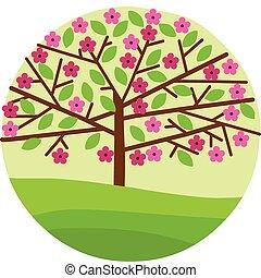 꽃, 봄의 꽃, 나무, 은 잎이 난다