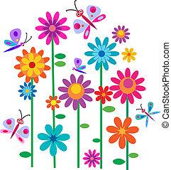 꽃, 봄, 나비