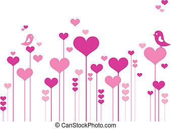꽃, 심장, 새
