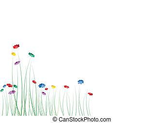 꽃, 심혼, 봄, 벡터