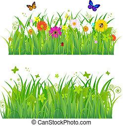 꽃, 풀, 곤충, 녹색