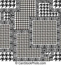꾸밈이다, 현대, 디자인, 화려한, pattern., seamless, 직물, 사냥개, 배경., 벡터, 검정, ornaments., 백색, 반복, houndstooth, 열쇠, 나뭇결이다, 기하학이다, 기워 맞춘 세공, 이, 그리스어, frames., 강의 사행