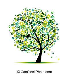 나무, 너의, 꽃의, 새, 디자인, spring.