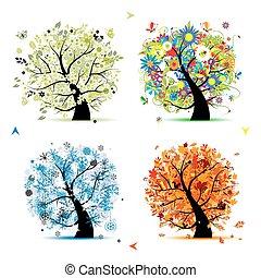 나무, 너의, 봄, winter., 은 맛을 낸다, -, 가을, 여름, 예술, 4, 디자인, 아름다운