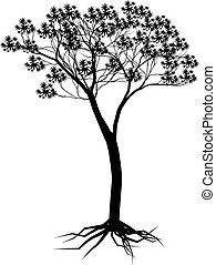 나무, 디자인, 실루엣, 너의
