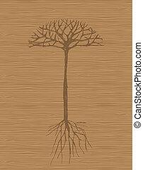 나무, 배경, 예술, 멍청한, 뿌리