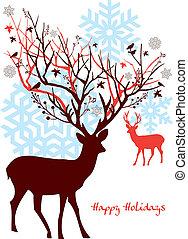 나무, 벡터, 사슴, 크리스마스