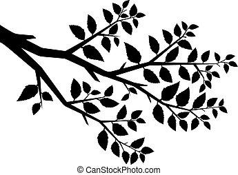 나무, 벡터, 실루엣, 가지