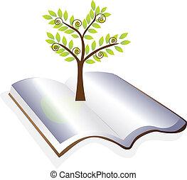 나무, 벡터, 열린 책, 로고
