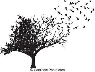 나무, 벡터, 예술, 새