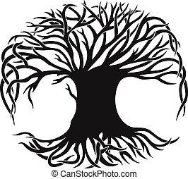 나무, 벡터, 장식적이다, 실루엣, 검정
