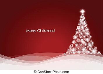 나무, 벡터, illustration., 배경, 크리스마스
