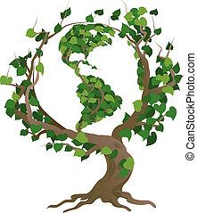 나무, 삽화, 벡터, 세계, 녹색