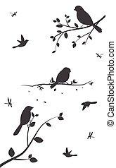 나무, 새, 다채로운