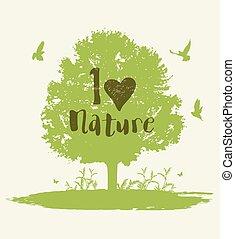나무, 새, 배경