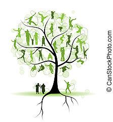 나무, 실루엣, 친척, 가족, 사람